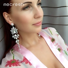 Mecresh Blue/Silver Color Chandelier Crystal Long Earrings for Women Rhinestone Hanging Earrings Bridal Wedding Jewelry EH421