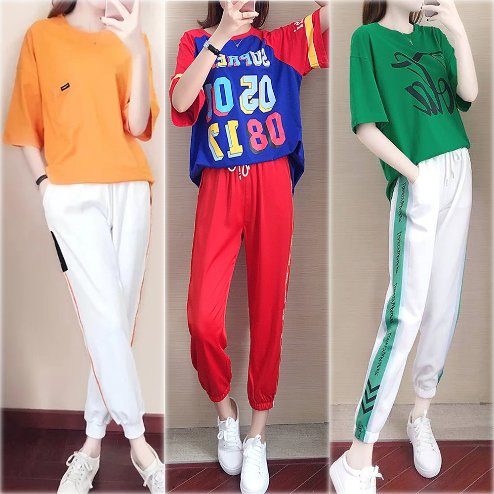 Pink Tracksuit for Women Outfits 2 Piece Set Plus Size Large Sportswear Co-ord Set Top Pant Suits 2019 Summer Letter Clothing