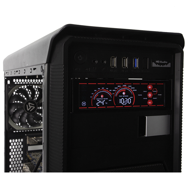 a-100L(R) Fan Controller for PC Fan Speed Adjust 6 Channels Water Cooling Fans / CPU Fan Control Panel LCD Touch Screen