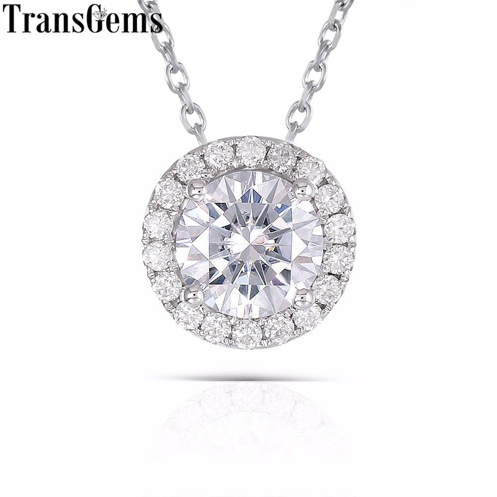 TransGems 14 к 585 Белое золото 1 карат 6,5 мм F цвет Муассанит алмазный кулон слайд Круглый Подвеска ореол для женщин