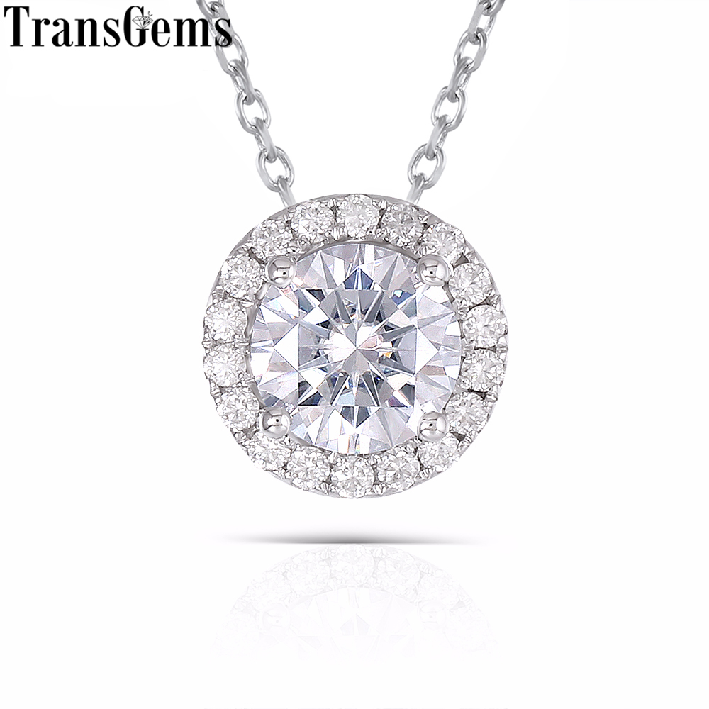 TransGems 14 K 585 Blanc Or 1 ct Carat 6.5mm F Couleur Moissanite pendentif diamant Glissière Ronde Halo Pendentif pour femmes