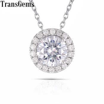 TransGems 14K 585 White Gold 1 ct Carat 6.5mm F Color Moissanite Diamond Pendant Slide Round Halo Pendant for Women - DISCOUNT ITEM  5% OFF All Category