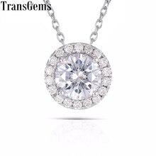 TransGems Colgante de diamante de moissanita para mujer, oro blanco 585, 1 quilate, 6,5mm, Color F, diapositiva, redondo, Halo