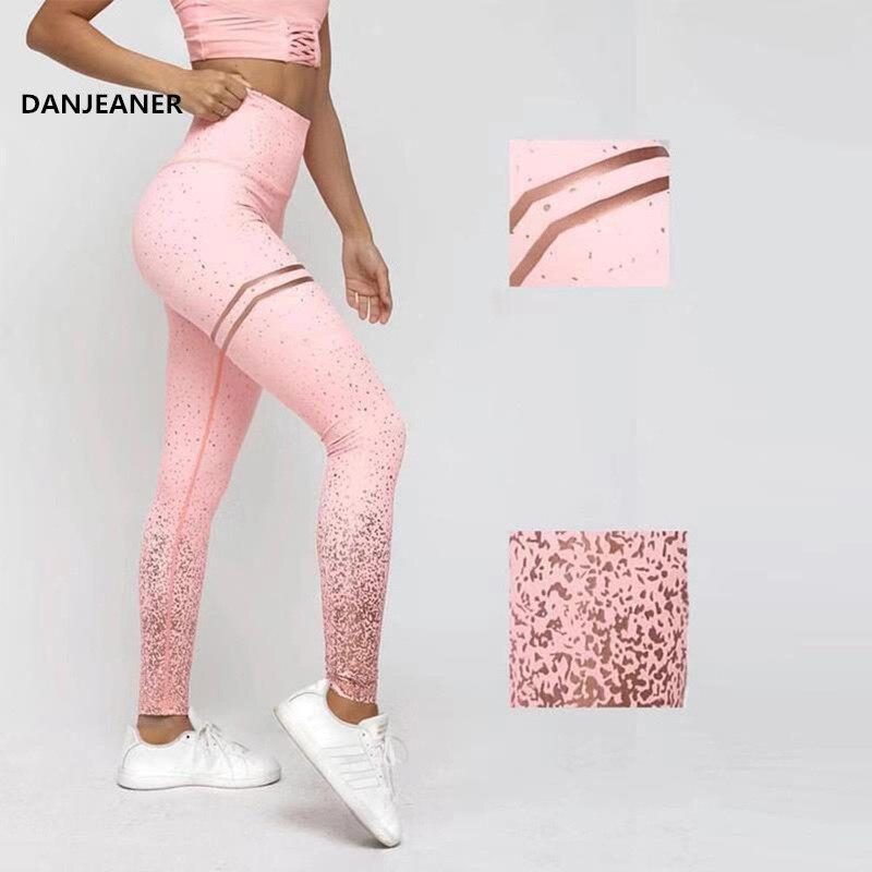 DANJEANER Hot Stamping High Waist Stretch Fitness Legging Women Summer Sportswear Pants Push Up Workout Leggings Body-building