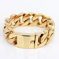 Gold Various Large Stainless Steel Bracelet for Men Biker Rocker Punk Bracelets Bangles Men's Link Wrist Mechanic Metal Jewelry