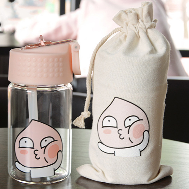 Portable Glass Drink Water Bottle With Tube 350ml 450ml High capacity My Cartoon Bottles 3 types Available Couples Student gift
