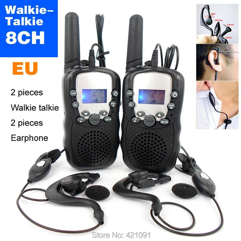 bilder für T-388 8 Kanäle Mini Walkie Talkie Travel Zweiwegradio Für Kind Kinder LCD Display Hf Transceiver Handfunkgerät und Kopfhörer