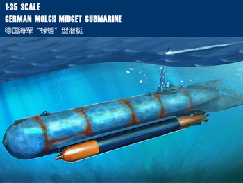 "Trumpet 80170 at 1:35 German ""salamander"" type submarine  Assembly model"