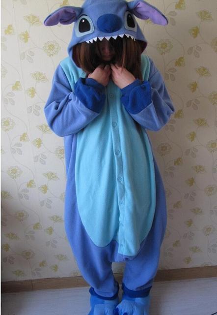 Животного Косплей пижамы костюм Женщины Onesies для взрослых партия Пижама  One Piece Синий Розовый стежка Onesie 79da0d49f3064