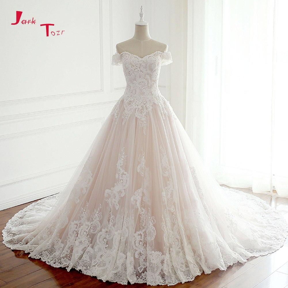 Jark Tozr 2019 New Listing Princess Wedding Dresses Turkey White Appliques Pink Satin Inside Elegant Bride Gowns Plus Size