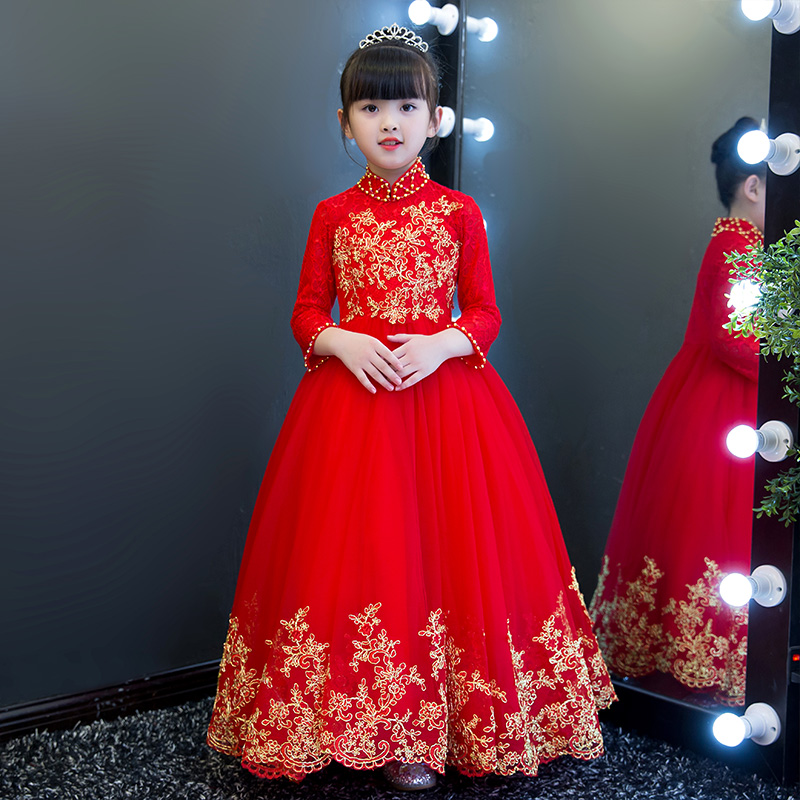 Elegant Luxury Red Color Children Girls Butterfly Wedding Dresses Kids Ball Gown Embroidered Bow-tie Birthday Party Long Dress
