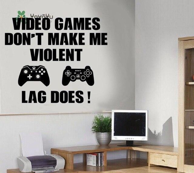 yoyoyu decal gaming art muursticker jongen speelkamer video games niet maken me gewelddadige quotes slaapkamer poster