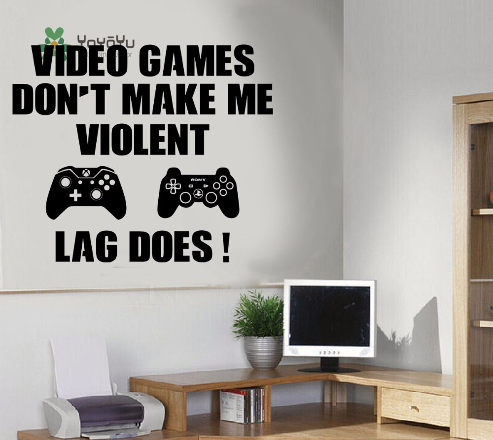 Yoyoyu decal gaming art wall sticker boy playroom video games dont make me violent quotes bedroom poster y019