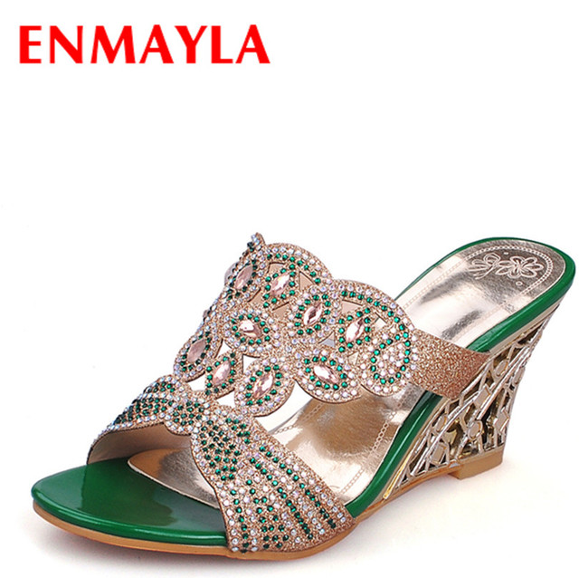 396ed451fe68 ENMAYLA Women Shoes Summer Beading Sandals 2 Colors Gold and Green Platform  High Heel Sandals Shoes for Date Party Size 34-39