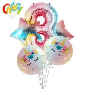 Image 4 - 5Pcs 1 2 3หมายเลขตกแต่งGlobosเด็กผู้หญิงของขวัญเด็กการ์ตูนยูนิคอร์นรูปบอลลูนฮีเลียมเด็กแสดงของเล่นเด็ก
