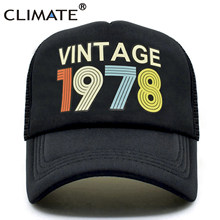 CLIMATE Vintage 1978 Trucker Cap Men Women Retro 40th Birthday Gift Baseball Caps Black Cool Hat For