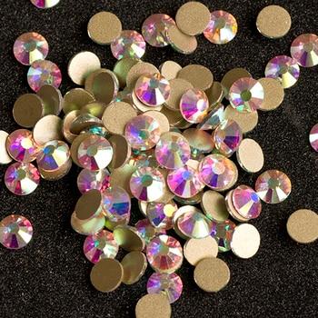 cf4b22f0467b1 YANRUO 2058 NoHF SS20 AB 1440 Pcs En Kaliteli Olmayan Düzeltme Strass  Flatback Kristal Glitter Cam Rhinestone Için Çivi