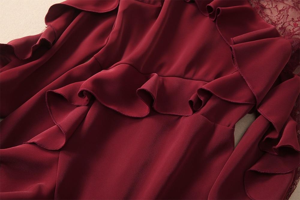Ruches Printemps Patchwork Robe 2019 Dentelle En D'été Designer Volant Cou Robes Transparent O Sirène Piste Femmes De Bourgogne qAE87f