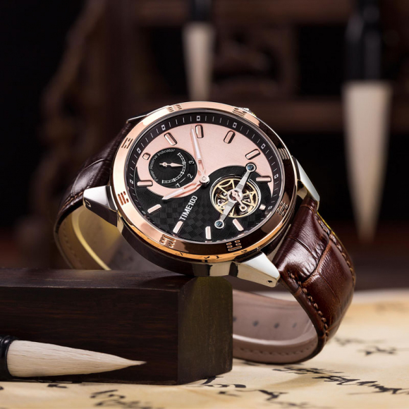 Time100 Top Brand Unisex Skeleton Mechanical Watches For Men Women Waterproof Taichi Pattern Sun Moon Phase Black Leather Strap