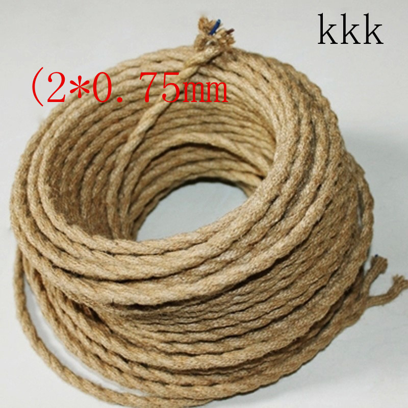 10m/Lot Wholesale,Vintage brown color Vintage rope Fabric Copper Conductor Eletrical Wire 2*0.75mm,Suitable For Edison Bulb
