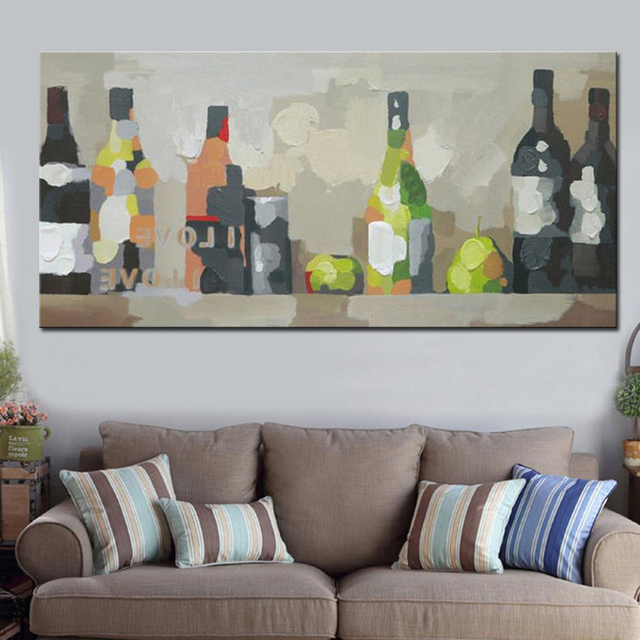 100% pintado a mano abstracto Cuadros decorativos vino Botellas ...