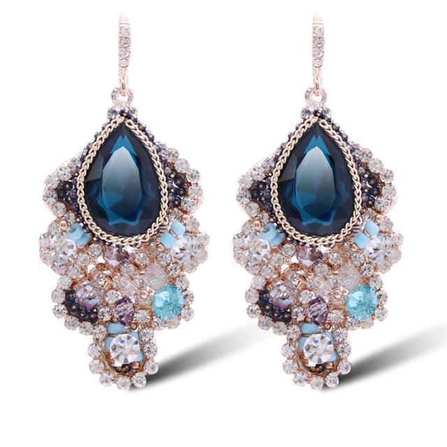 Ajojewel Marca de Lujo Nuevas Mujeres 2016 de La Joyería Bohemia Vintage Retro Pendientes de Cristal Azul