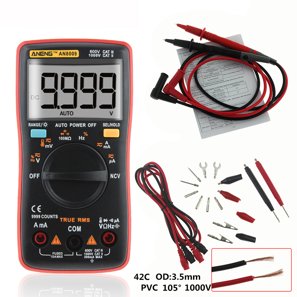 ANENG AN8009 Auto Range Digital Multimeter 9999 counts With Backlight AC/DC Ammeter Voltmeter Ohm Transistor Tester multi meter an8009 auto range lcd digital multimeter full protection ac dc voltmeter ammeter ohm capacitance ncv electrical tester