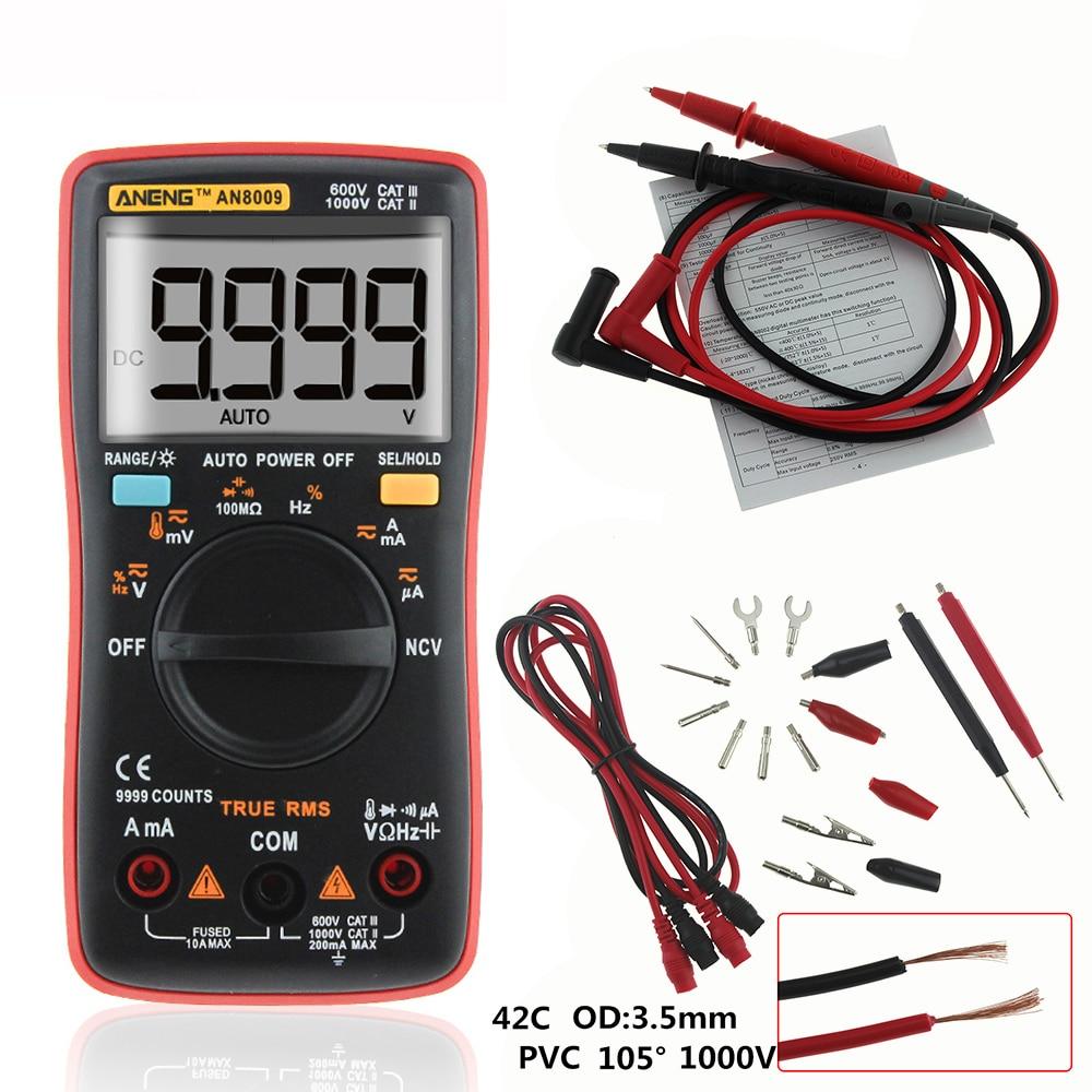 купить ANENG AN8009 Auto Range Digital Multimeter 9999 counts With Backlight AC/DC Ammeter Voltmeter Ohm Transistor Tester multi meter по цене 1319.5 рублей
