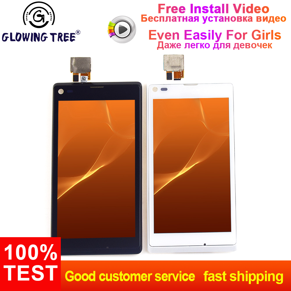 For Sony Xperia L S36h S36 c2105 c2104 Touch Screen Digitizer Glass + LCD  Display Panel Monitor Assembly with Frame