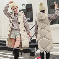 3D/dimensional diamond plaid pattern for autumn and winter seasons Winter women's down jacket long slim slimming vest with hat