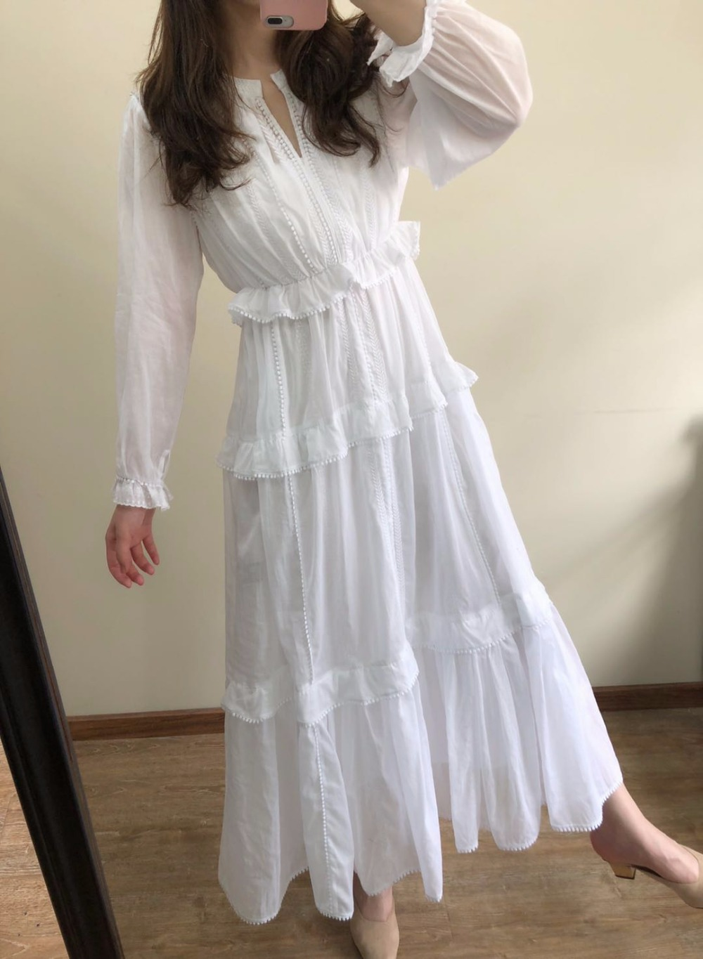 White ABONI DRESS Long embroidered Cotton dress Long sleeves Round neck with slit Ruffles cuffs bodice
