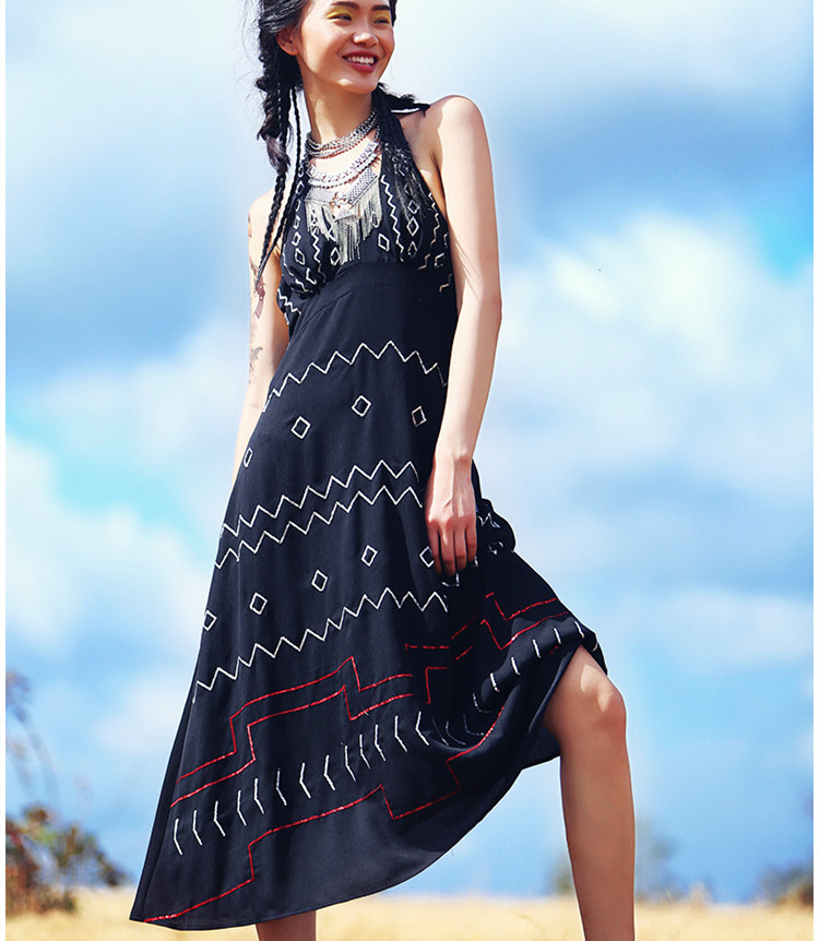 AIGYPTOS Aporia.As Spring Summer Women National Trend Bohemia Sequined Embroidery Slim Halter Chiffon Beach Casaul Long Dress sequined halter chain dress
