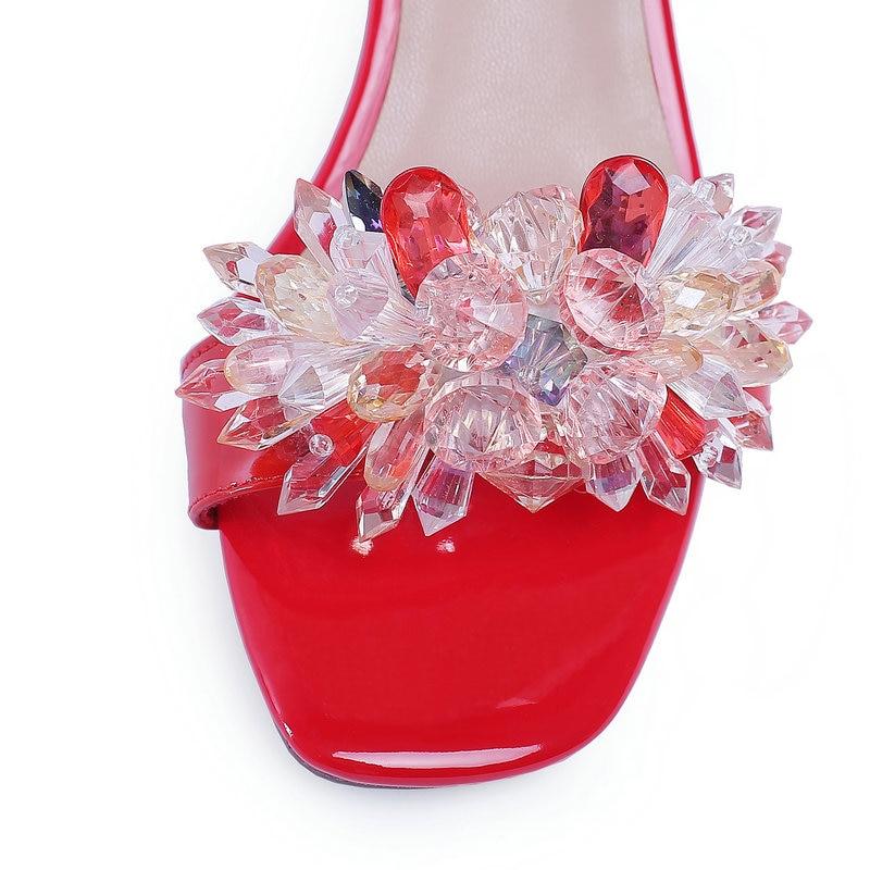 Rosso Scarpetta Vetro Alti Di Principessa Cristallo Sposa Cuoio Da Scarpe bianco Degli Sandali Genuino Talloni Dei Stile Donna Estate STPSw7q