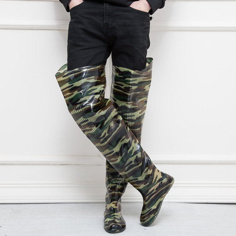 High Jump 80cm Camouflage Fishing Boots 0 55mm PVC Integrated Seamless combination Fishing Boots Breathable Fishing