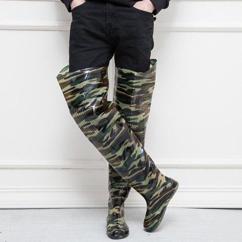 alto salto 80cm camuflagem botas de pesca 0 55mm pvc integrado combinacao sem emenda botas