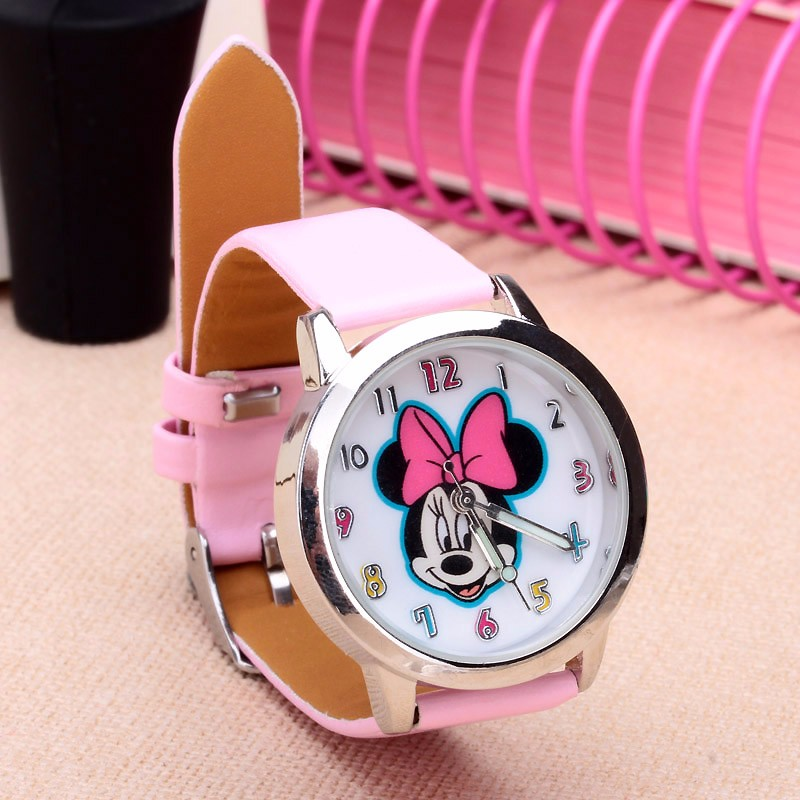 Cartoon Beautiful girl Minnie mouse style Color number dial children students girl's leather quartz watch minnie dots 4th birthday number minnie print tank top with white ruffles