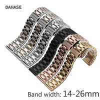 Watch Straps 14 16 17 18 19mm 20 21mm 22mm 23 24 26mm 5 Links Stainless Steel Replacement Watch Band with Butterfly Buckle