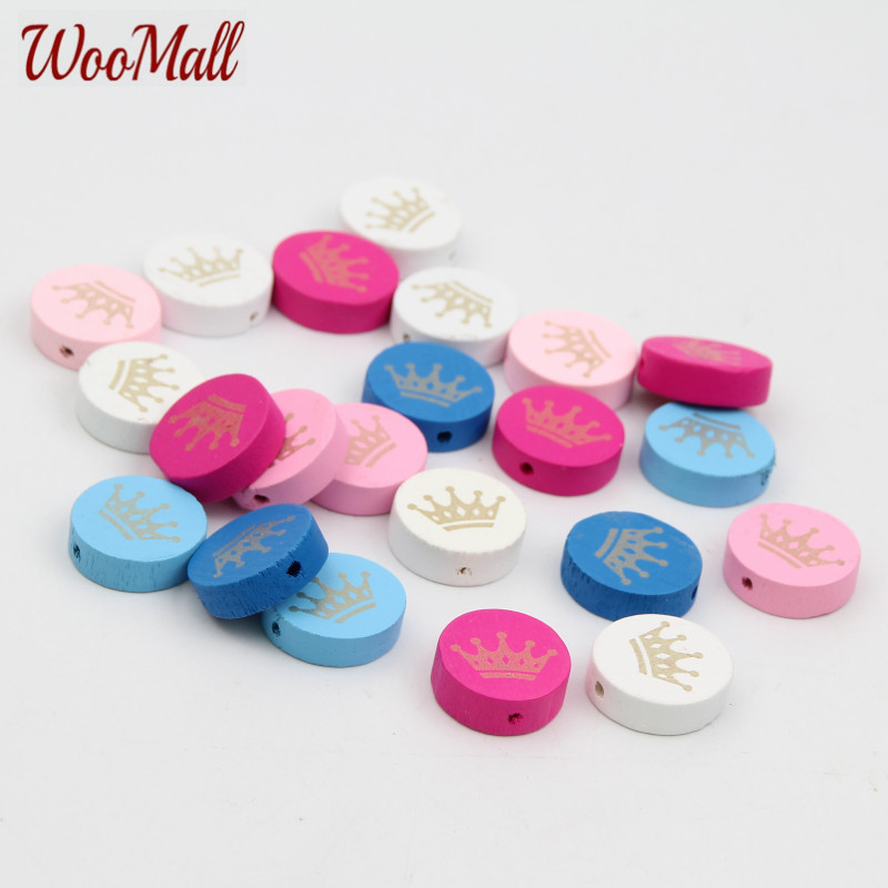 30pcs Crown Spacer Beading Wood Beads 20mm For Baby DIY Toys Crafts Kids Toys & Pacifier ...