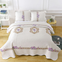 Floral Beige Bedspread king size Bed cover set Mattress topper Blanket Pillowcase 3pcs quilt cover 220x240cm