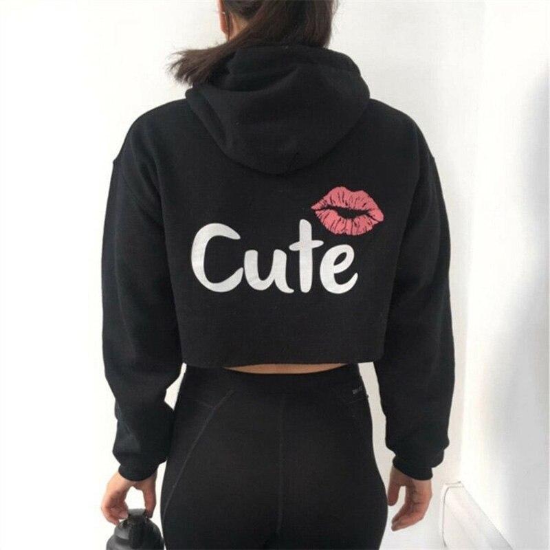 Fashion Casual Women Hoodies Long Sleeve CUTE Letters Printing Hoodie Sexy Crop Tops Women Pullovers Short Sweatshirts DP828294