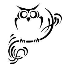 14.4cm*16.3cm Owl On Branch Cartoon Car Sticker Vinyl Car-Styling Black/Silver S3-6267