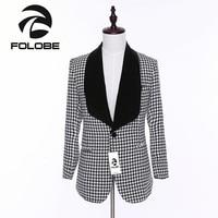 FOLOBE Мода белый и черный клетчатый Блейзер Для мужчин s Бизнес Slim Fit Blazer мужской пиджак пальто костюм Для мужчин Блейзер M2