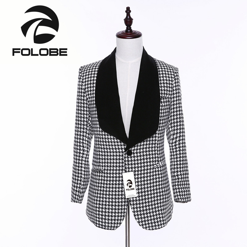 FOLOBE New Arrival Wool White& Black Plaid Blazer Mens Business Slim Fit Blazer Masculin ...