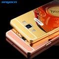 Caixa do telefone para Samsung Galaxy A3 A5 A7 J5 J7 8 9 E7 caso De Luxo de Alta Qualidade do Metal de Alumínio Espelho Acrílico Anti-batida Caso Tampa Traseira