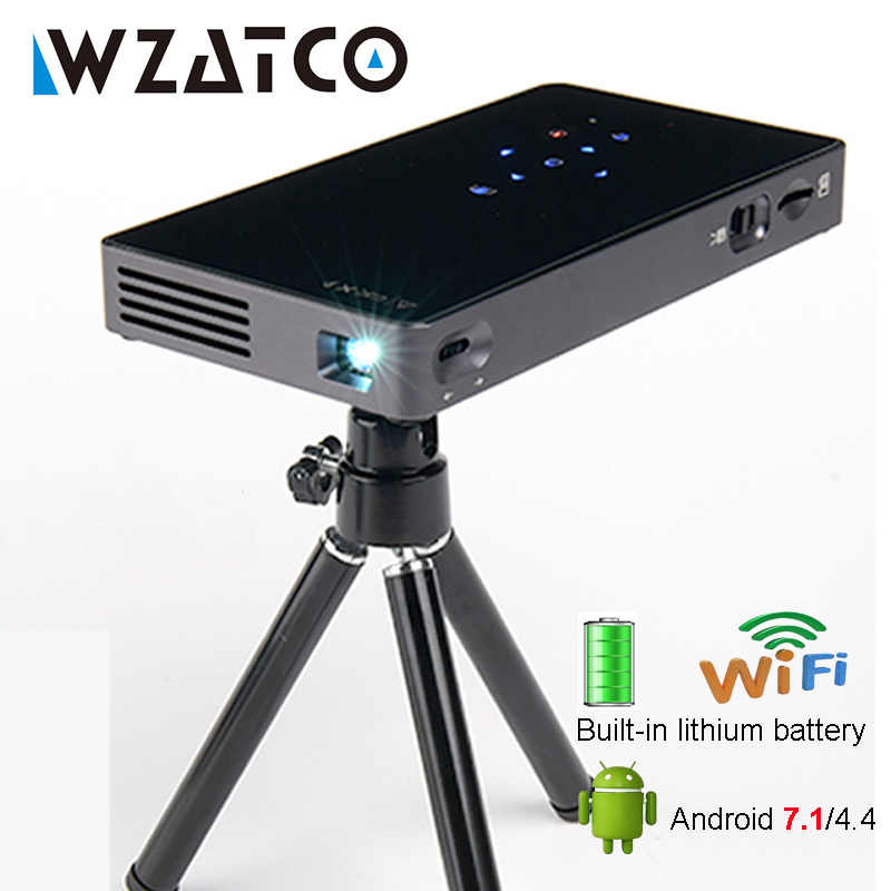 WZATCO CT50S Mini portátil inteligente casa teatro bolsillo Android 7.1.2 OS Wifi Mini HD LED proyector para La HD1080P MAX 4K HDMI