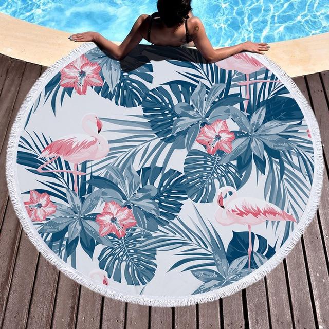 26 Colors 150cm Tassel Giant Beach Blanket Donut Pizza Picnic Camping Mat Round Sandbeach Towel Printed Cloth Pad Shawl Mattress 6