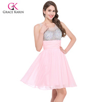 2015 Vestido De Festa Sleeveless Pink Blue Beadings Short Prom Dresses Chiffon Evening Gown Formal Party