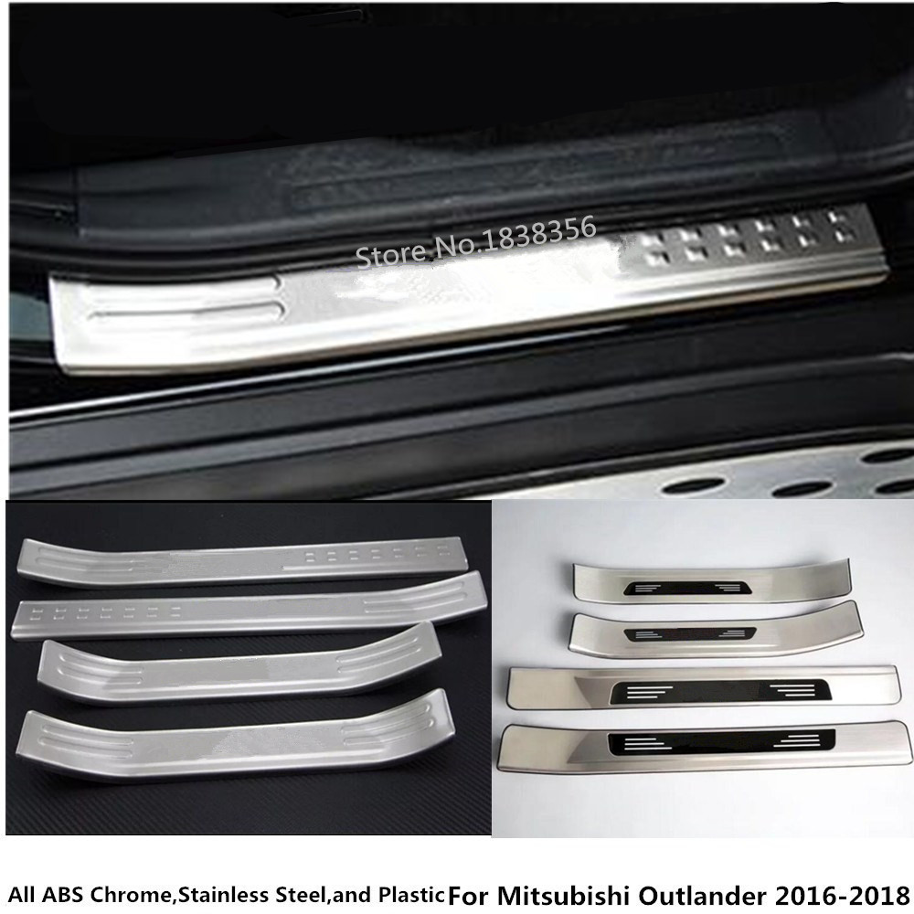 цена на For Mitsubishi Outlander 2016 2017 2018 Stainless Steel Pedal Door Sill Strip Scuff Plate Frame External Cover Threshold 4pcs