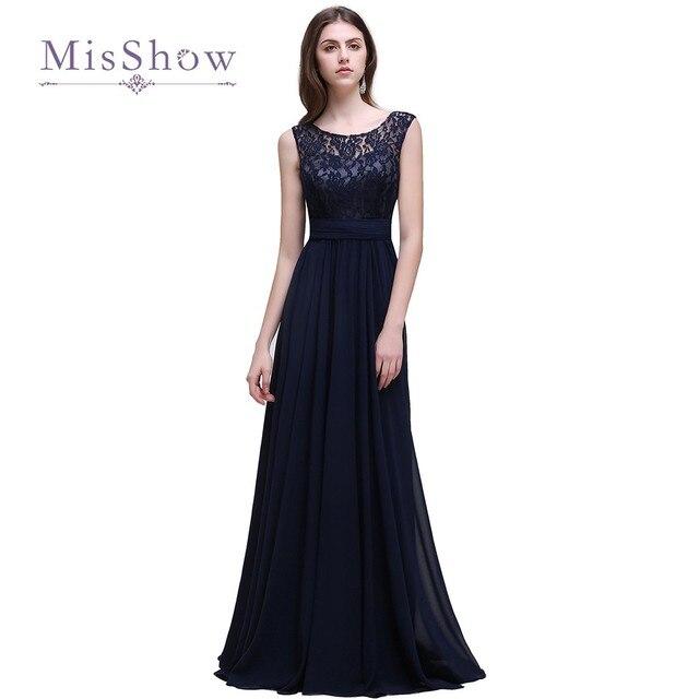 Barato Azul Marino de Encaje Sin Mangas Largo vestido de Dama 2017 Elegante  Una Línea de 758a47786718