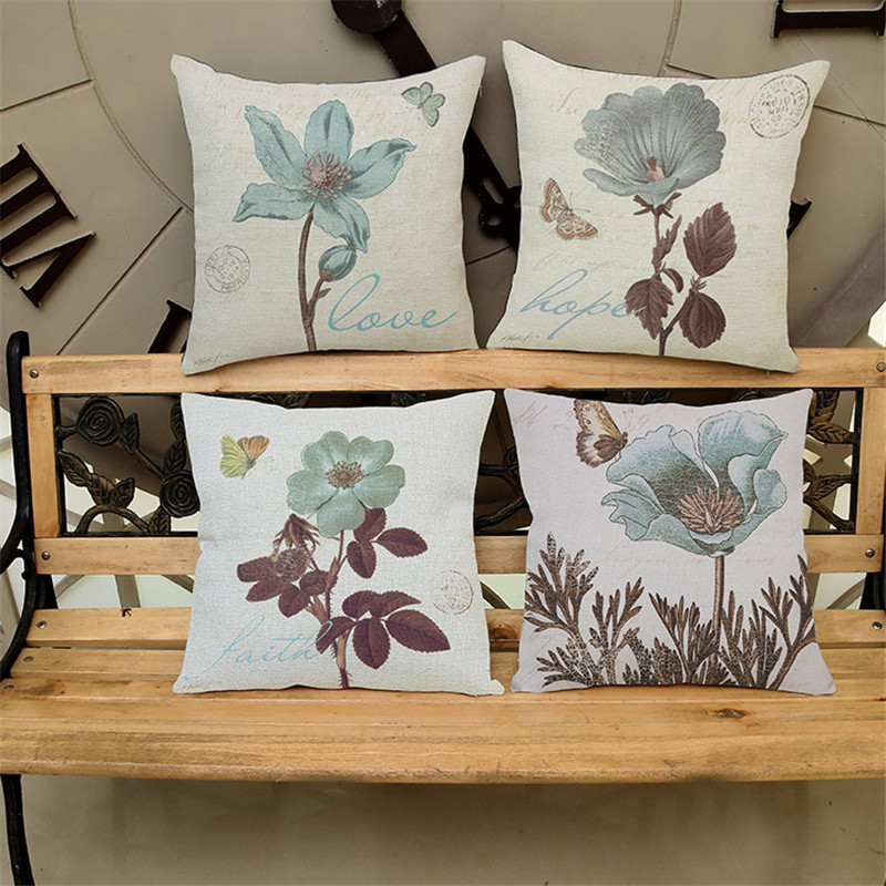 Retro European painting flower Cushion Cover Pillow case Sofa car seat coffee shop bar Home party living room Decoration gift